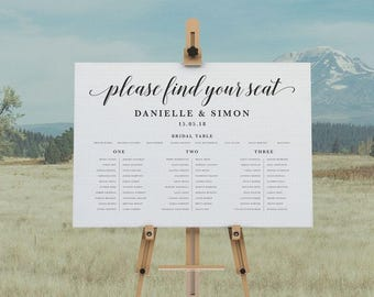 DIY Printable Rustic Wedding Seating Plan Welcome Sign | Calligraphy | Rustic Vintage | Custom Designs Available