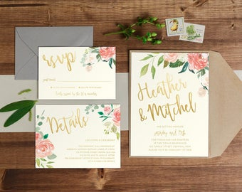 DIY Printable Watercolour Floral Ivory Wedding Invitation | Save the Date | RSVP | Details | Calligraphy Script | Ivory & Gold