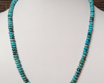 Native American Vintage Santo Domingo Turquoise Rondelle Sterling Silver Necklace 19.5""