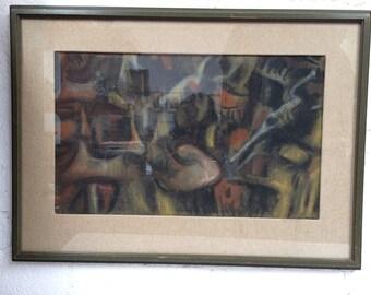 Mid Century Oil Pastel Abstract Art by Milton Hirschl