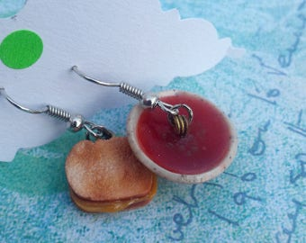 Grill cheese and soup earrings