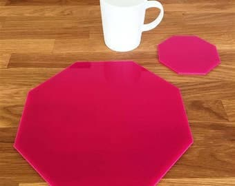 Octagon Shaped Placemats or Placemats & Coasters - in Pink Gloss Finish Acrylic 3mm