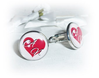 Personalised cufflinks, heart, text,