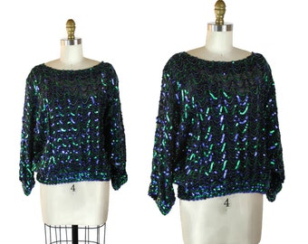 80s Sequin Blouse / Glitzy Sequined Long Sleeve Blouse / 1980s Sequin Night Club Blouse