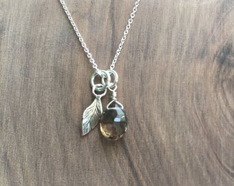 Charming Feather and Smokey Quartz Necklace- Sterling Silver and Natural Gemstones