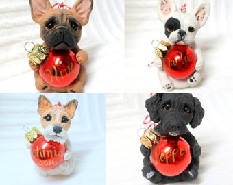 Your Pet Portrait Christmas ornament by Raquel at theWRC hand sculpted polymer clay Collectible Personalized DOG ORNAMENT