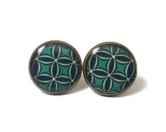 TURQUOISE Geometric shape earrings - studs earrings - turquoise earrings - Gift for her