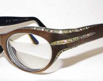1960s Rhinestone Cat Eye Glasses Vintage Retro