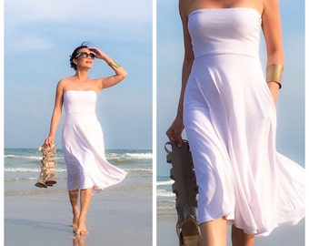 White strapless short dress Knee length beach wear all size