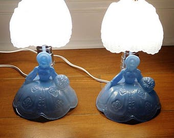 1930s Blue Depression Glass Southern Belle Lamps Pair Boudoir Country Cottage Home Decor Victorian Lady Gone With The Wind LE Smith Glass
