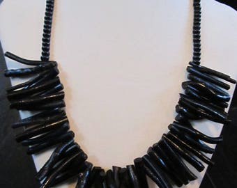 Black wooden necklace