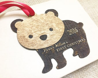 Baby's 1st Christmas Ornament Personalized Tree Ornament Christmas Gift for Grandpa Grandma New Mom Newborn Keepsake Xmas Decoration