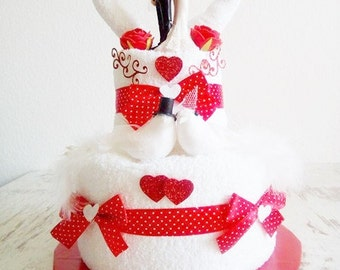 Wedding cake from towels wedding cake gift wedding red white bride and groom get married
