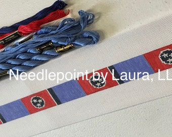 Tennessee State Flag Needlepoint Belt Canvas- with blue background, thread included