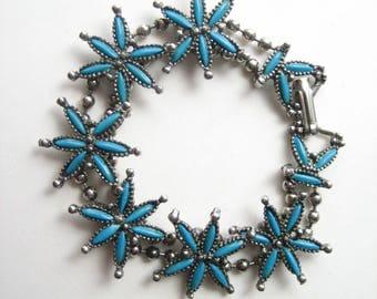 Vintage turquoise bracelet, faux turquoise, silver tone bracelet, faux petit point, Southwestern style, turquoise flower