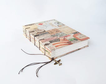 Travel Journal, Notebook, Sketchbook with Airplane Charm