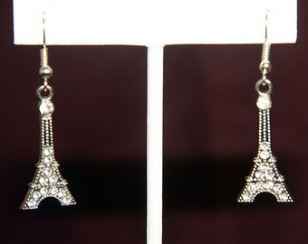 Eiffel Tower Earrings with faux crystals
