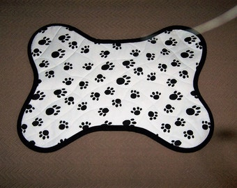 One of a kind reversible Bone Shaped Dog Placemat, Black and White