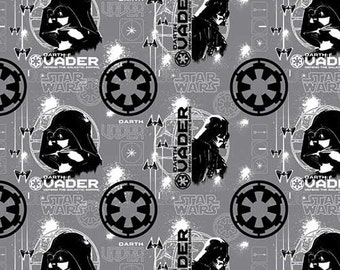 Star Wars fabric - Rogue One Darth Vader on Grey - Camelot - stormtrooper fabric, the Dark Side, Darth Vader, tie fighter, Stormtroopers