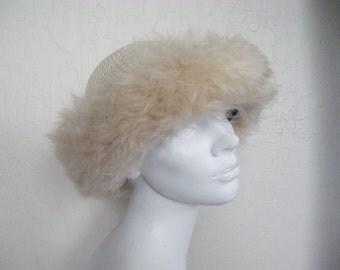 Crochet Tuscan Lamb Fur Trim Hat - Italy