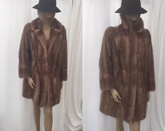 SALE! Vintage Light Brown Mink Knee Length Fur Coat Vintage Womens Winter Coat