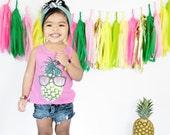 Floral Tassel Garland, Hot Pink Gold Yellow Green , Baby Girl Shower, Summer Wedding, Cake Smash, Wedding Bunting, Pineapple Party