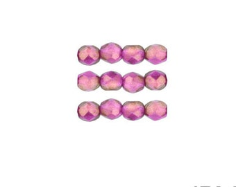 HALO ROSE: 4mm Faceted Round Firepolish Czech Glass Beads (50 beads per strand)