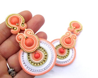 Bridal Clip On Earrings, Coral Earrings, Unique Handmade Soutache Earrings, Hand Embroidered Soutache Earrings, Bridal Earrings Wedding