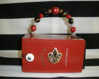 Red, Fleur de Lis, Slide Opening, Cigar Box Purse, Authentic, Tampa- Stunning!!