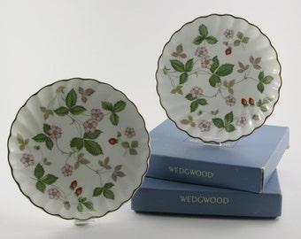 1990's Vintage Pair Boxed Wedgwood Bone China Mini Plates Gold Trim Wild Strawberry Wedgwood China Trinket Dish Wedgwood Easter Gift For Her