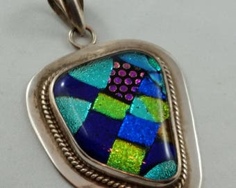 1980s Large Sterling Silver Dichroic Glass Pendant