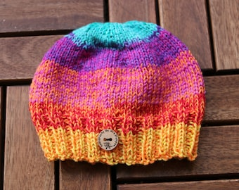 Handknit colourful baby hat, handknit from 100% fine and silky merino wool, baby hat 0-9 months