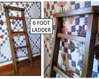 Reclaimed Wood Towel Blanket 6 FOOT Ladder Shelf Bath Kitchen Nursery Leaning Wall Organizer Rustic Cabin Farmhouse Cottage Home Decor Gifts