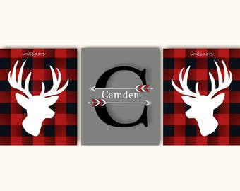 Buffalo Plaid Nursery, Lodge Buffalo Check, Woodland Nursery Art, Deer Print, Buck, Deer Art, Deer Wall Art, Lodge Art, Choose Colors WD4421