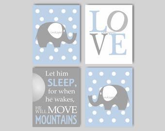 Baby Elephant Nursery Bedding Decor, Elephant Nursery Decor, Elephant Nursery Art, Let Him Sleep, Blue Gray Nursery Art Choose Colors EH5804