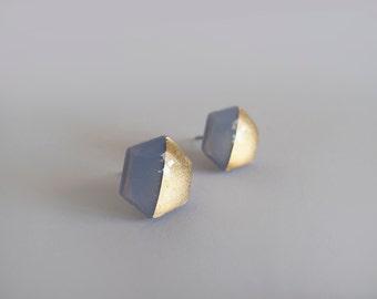 Blue Gray & 23k Gold Hexagon Stud Earrings - Hypoallergenic Titanium Posts