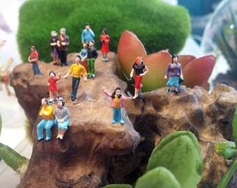 micro miniature plastic people figures diorama or glass ball terrarium or dome  jewelry