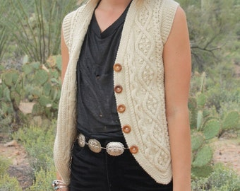 FREE SHIPPING Vintage Wool Cable Knit White Cream Sweater Vest Waistcoat