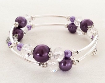 Purple Bracelet, Purple Pearl Bracelet, Purple Jewelry, Purple Pearl Jewelry, Bridesmaid Gift