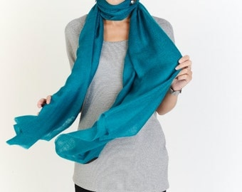 Turquoise Cashmere Ring Scarf Petite