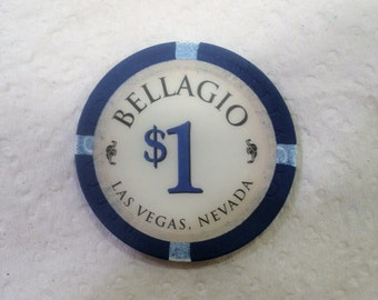 Vintage Bellagio Las Vegas Nevada / 1 Dollar Casino Chip / Obsolete