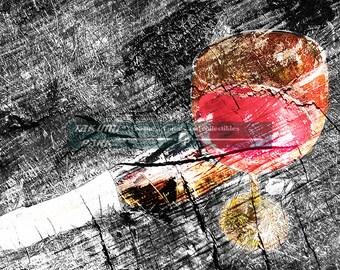 Art Print Of Wine And Bottle, Wine Decor, Den Art Print, Vino Art Print, Bar Decor, Unique Dining Room Decor, Gift For Wine Lovers, Bar Art