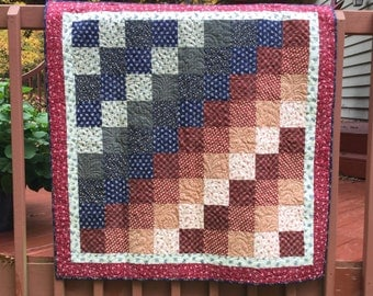 Quilt, Lap Quilt, Quilted Throw, Patchwork Quilt, Primitive Patchwork Quilt, Country Patchwork Quilt
