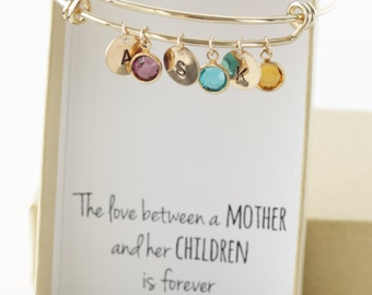 Christmas gifts for mom - Mom Birthday Gift - Mom Gifts - Mom from Daughter - Birthstone Bracelet Gold - Birthstone Charms Initial Bangle