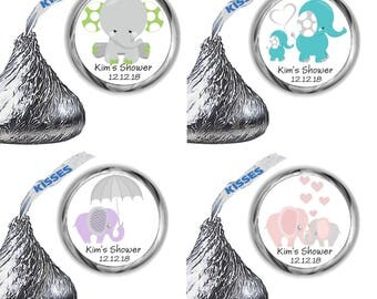 216 Elephant Baby Shower and Birthday Party Hershey Kiss Labels Many Elephants To Choose From