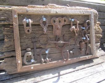 Farmhouse Antique Tool Display, vintage tool, Barn Wood Tool, wall hanging, farm implement, ranch decor, rust, rusty tool, rustic wall decor