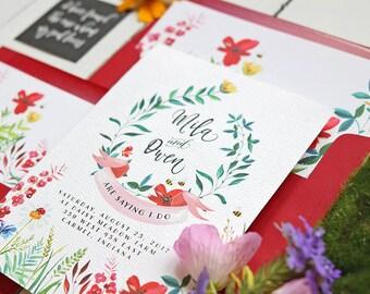 Wildflower Wedding Invitation Set - Floral Suite for a Garden Wedding in Summer - Watercolor Wedding Invites - Printable or Printed