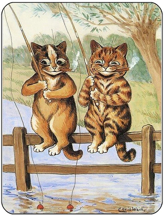 Louis Wain Fishing Cats Mouse Mat Mouse Pad