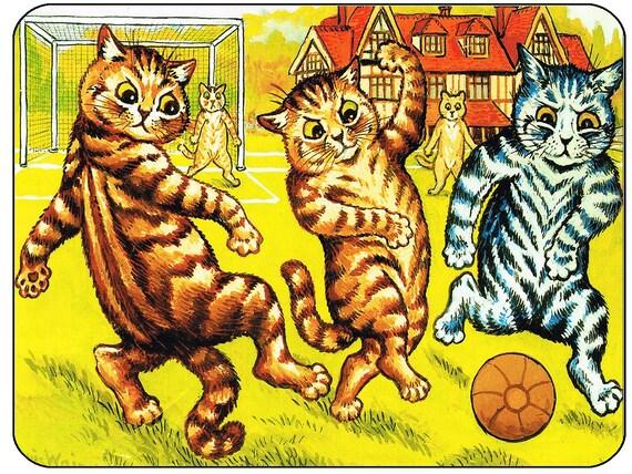 Louis Wain Football Cats Mouse Mat Mouse Pad