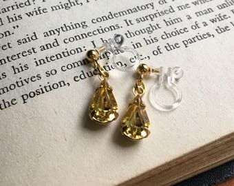 Jonquil Yellow Swarovski Rhinestone Invisible Clip On Earrings / Bridal Clip Earring / Drop Clipon / Crystal